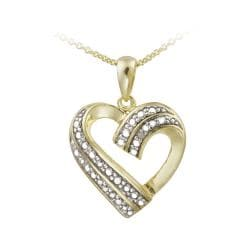 DB Designs 18k Yellow Gold over Silver Diamond Accent Heart Necklace