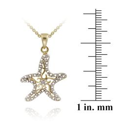 DB Designs 18k Yellow Gold over Silver Diamond Accent Filigree Starfish Necklace
