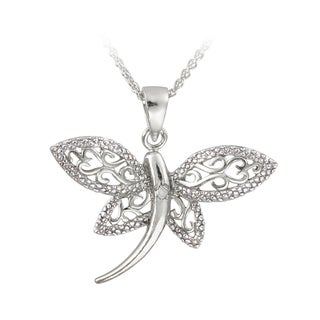 DB Designs Silver Diamond Accent Filigree Dragonfly Necklace