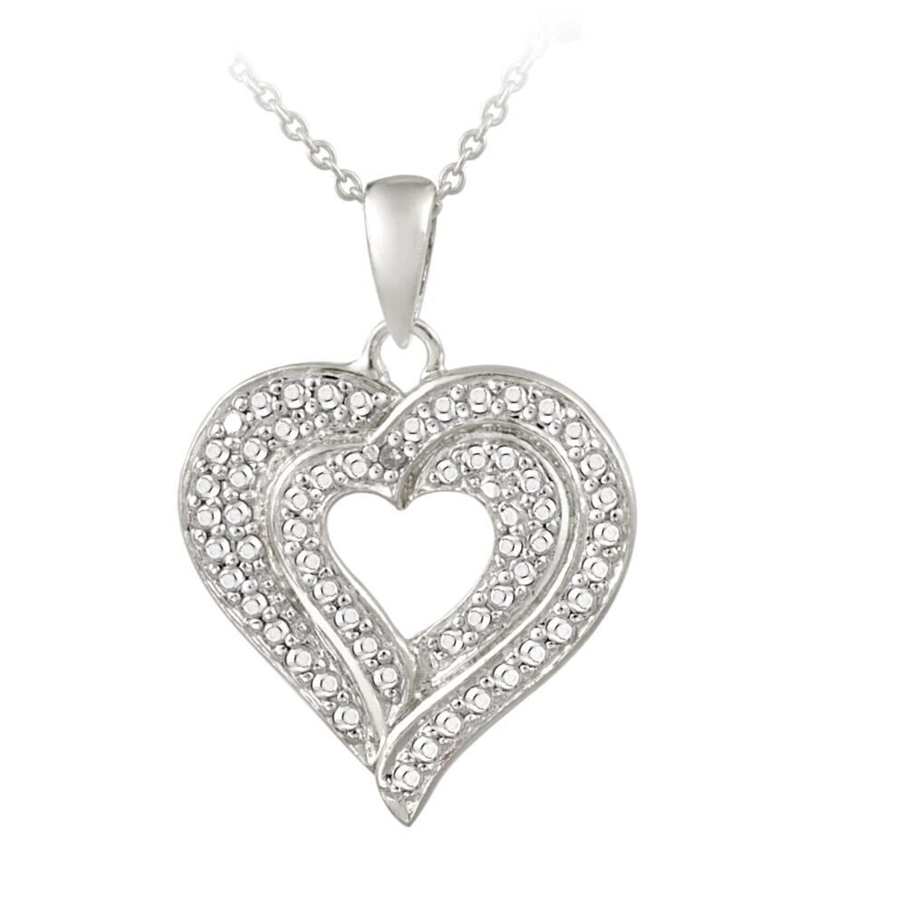 DB Designs Sterling Silver Diamond Accent Heart Necklace