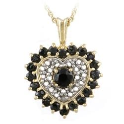 Glitzy Rocks 18k Gold over Silver Sapphire and Diamond Heart Necklace