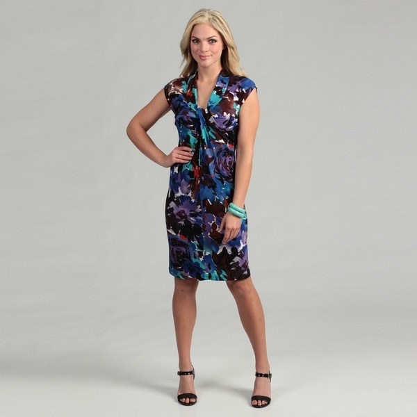 London Times Women's Floral Jersey Dress