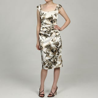 London Times Women's Golden Floral Cap-sleeve Dress