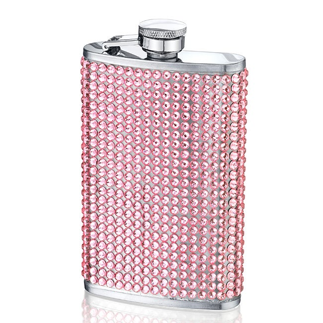 Four-ounce Sassy Pink Crystal-studded Stainless Steel Beverage Flask