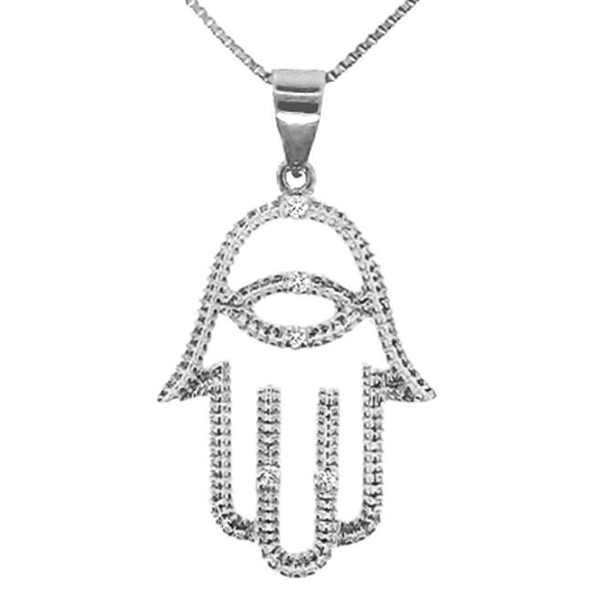 Sterling Silver Diamond Accent Cutout Hamsa Necklace