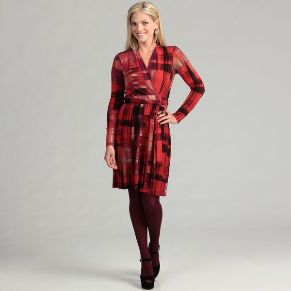London Times Women's Red/ Bronze Belted Dress FINAL SALE