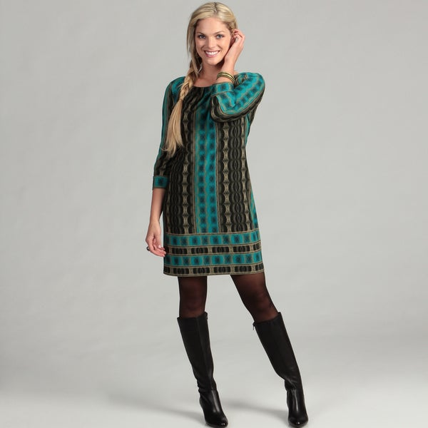London Times Women's Green/ Teal 3/4-sleeve Dress