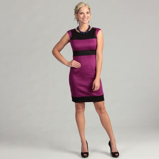 London Times Women's Plum/ Black Sheath Dress FINAL SALE