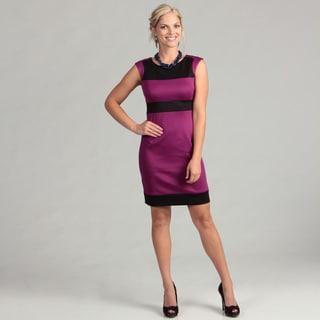 London Times Women's Plum/ Black Sheath Dress FINAL SALE