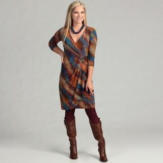 London Times Women's Belted 3/4-sleeve Dress