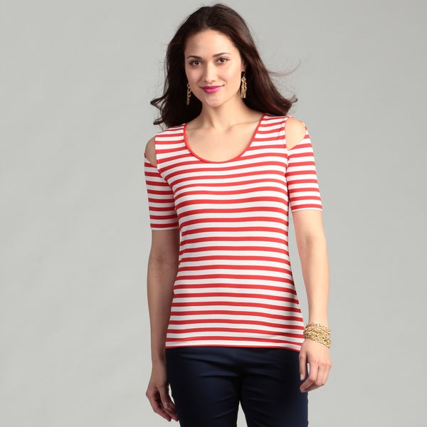 Vince Camuto Women's Red Pepper Striped Shirt