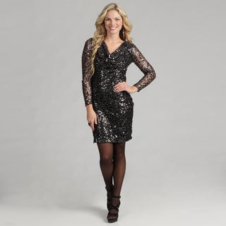 Calvin Klein Women's Black Sequin Cowl Neck Dress FINAL SALE