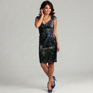 London Times Women's Black/ Teal Abstract Dress