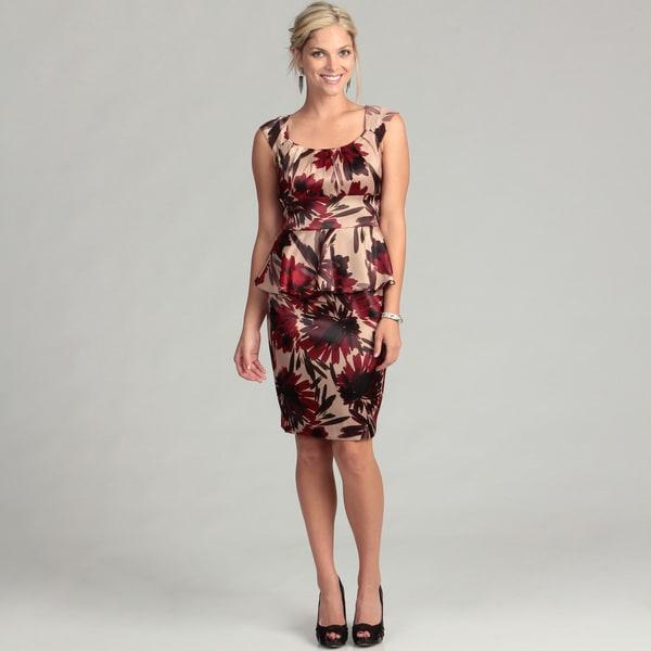 London Times Women's Floral Peplum Dress