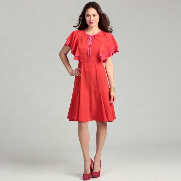 Vince Camuto Women's Red Pepper Flutter Dress