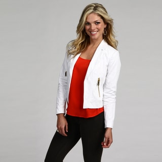 Vince Camuto Ultra-white Zipper-embellished Fully Lined Women's Blazer