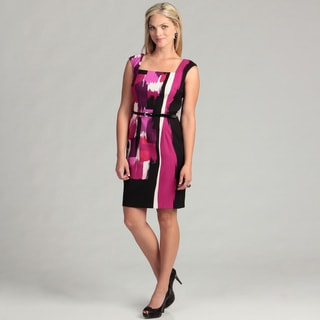 London Times Cap Sleeve Square Neck Belted Dress FINAL SALE