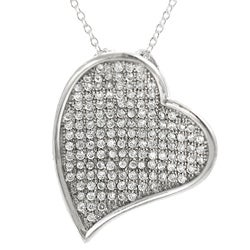 Tressa Sterling Silver Pave-set Cubic Zirconia Heart Necklace