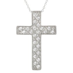 Tressa Sterling Silver Pave-set Cubic Zirconia Cross Necklace