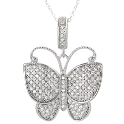 Tressa Sterling Silver Pave-set Cubic Zirconia Butterfly Necklace