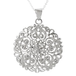 Journee Sterling Silver Cubic Zirconia Filigree Detail Necklace