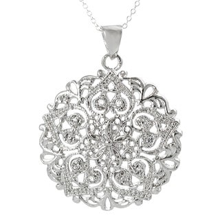 Tressa Sterling Silver Cubic Zirconia Filigree Detail Necklace