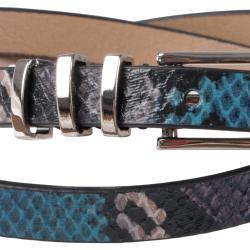 Journee Collection Women's Skinny Python Print Belt w/ Triple Loops