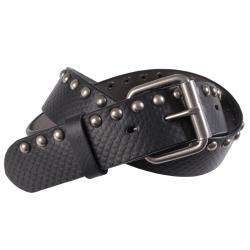 Journee Collection Women's Snake Embossed Studded Leather Belt
