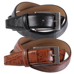 Joseph Abboud Men's Topstitched Croc Print Genuine Leather Belt