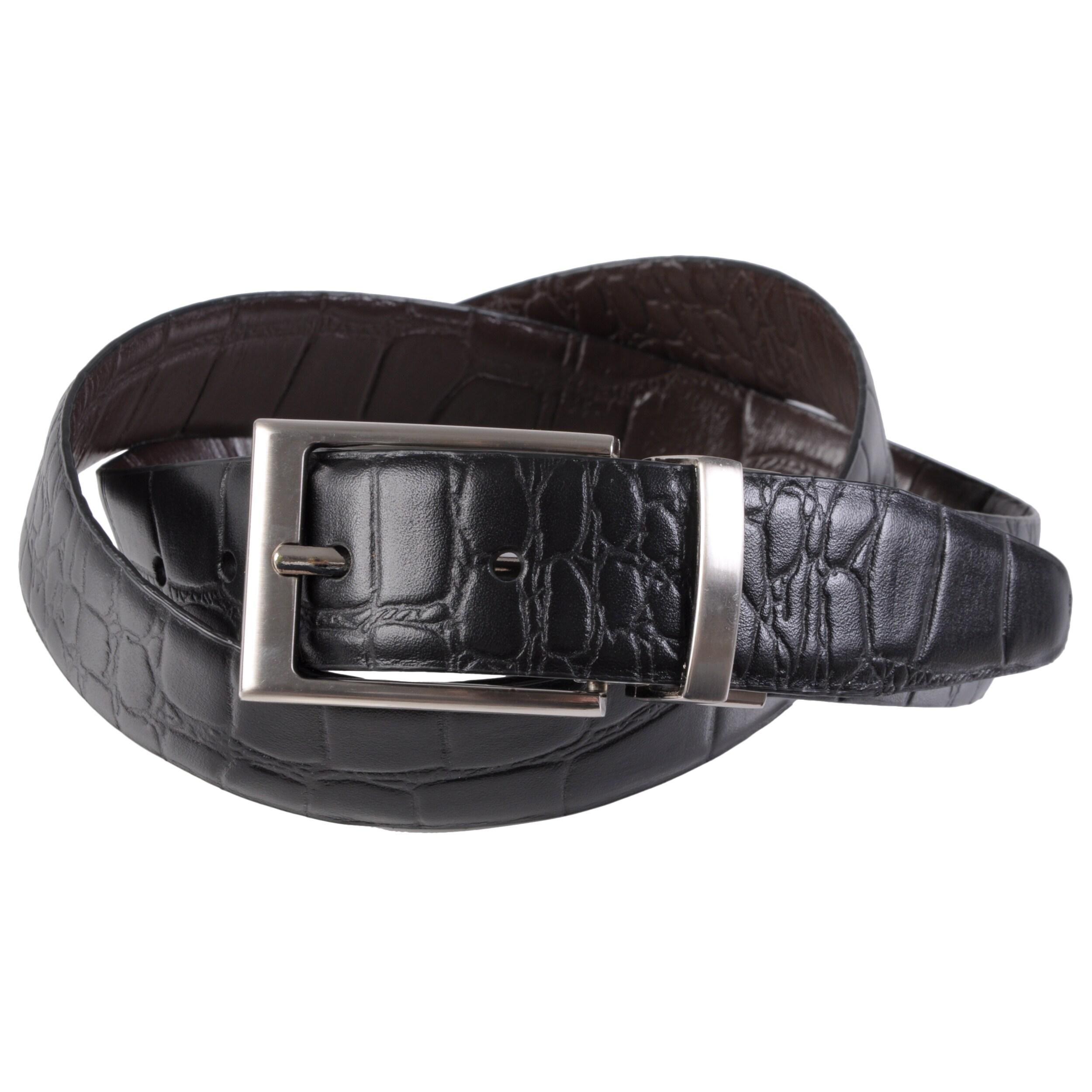 Joseph Abboud Men's Topstitched Croc Print Reversible Leather Belt