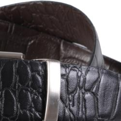 Joseph Abboud Men's Topstitched Croc Print Reversible Leather Belt