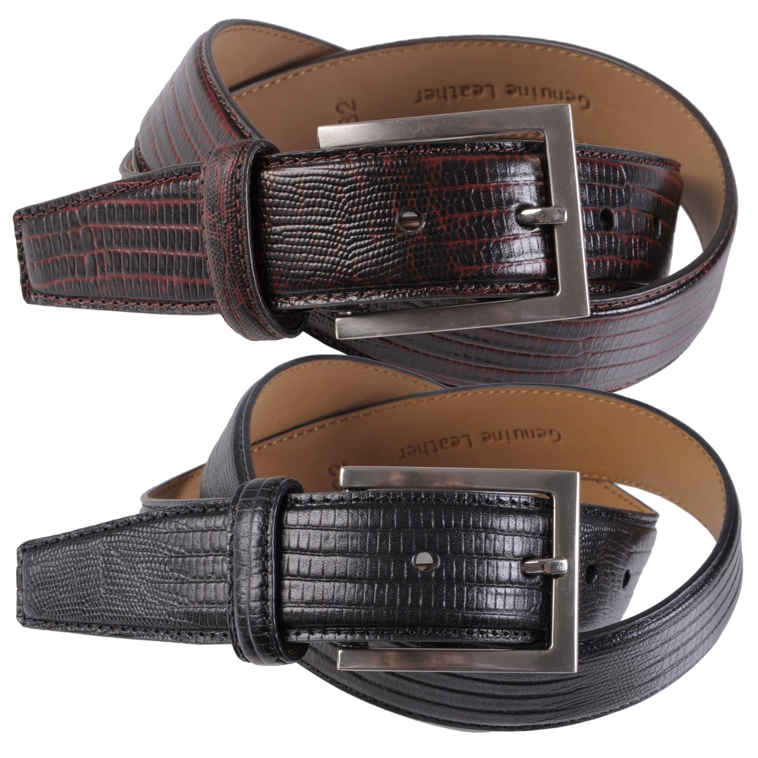 Joseph Abboud Men's Topstitched Croco Embossed Leather Belt