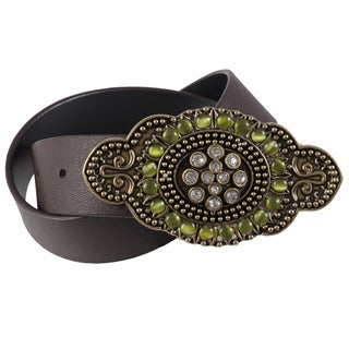 Journee Collection Women's Rhinestone Buckle Leather Belt