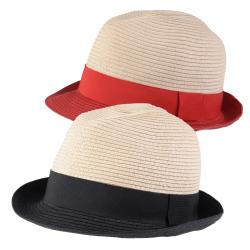 Hailey Jeans Co. Women's Ribbon Accent Paper Braid Fedora