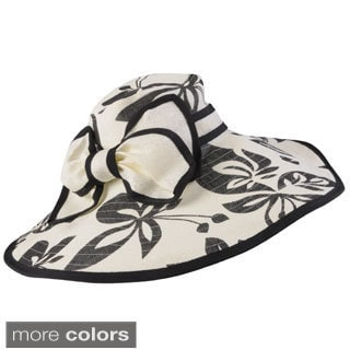 Journee Collection Women's Wide Brim Floral Print Bow Accent Hat