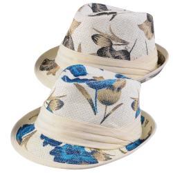 Journee Collection Women's Flower Print Straw Fedora Hat