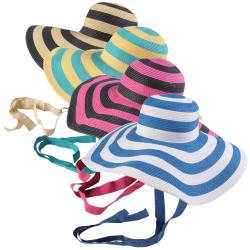 Journee Collection Women's Wide Brim Striped Sunhat