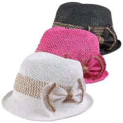 Journee Collection Women's Bow Accent Straw Fedora Hat