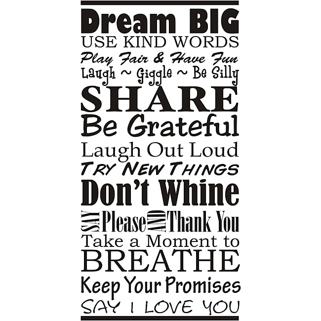 'Family Rules Dream Big' Vinyl Art at Sears.com