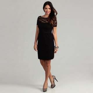 London Times Women's Black Sheath Dress