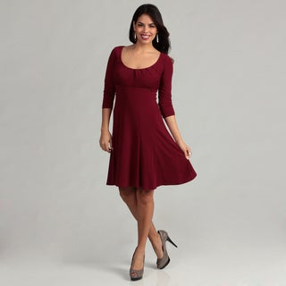 London Times Women's Merlot 3/4-sleeve Scoop Dress