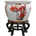 Porcelain 20-inch Cherry Blossom Fishbowl (China)