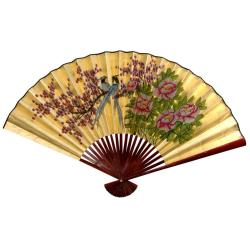 30-inch Wide Gold Leaf Love Birds Fan (China)
