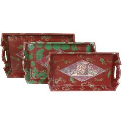 Chinese Distressed-wood Red/Green Decoupage Tea Trays (Set of Three)