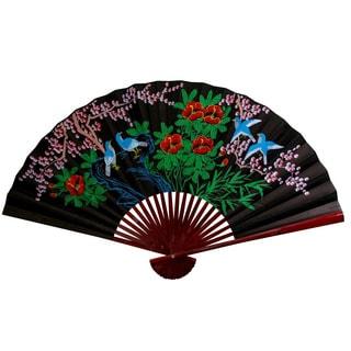 30-inch Wide Black Cherry Blossom Fan (China)