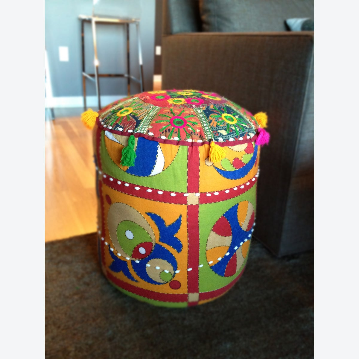 Traditional Mandara Indian Multicolored 16-inch Pouf