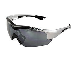 Men's 4932RV-BKSVRSM Silver/ Black Wrap Sunglasses