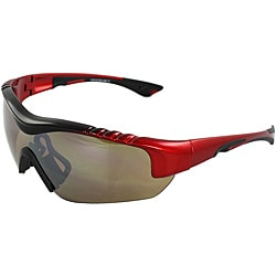 Men's 4932RV-BKRDBN Red/ Black Wrap Sunglasses