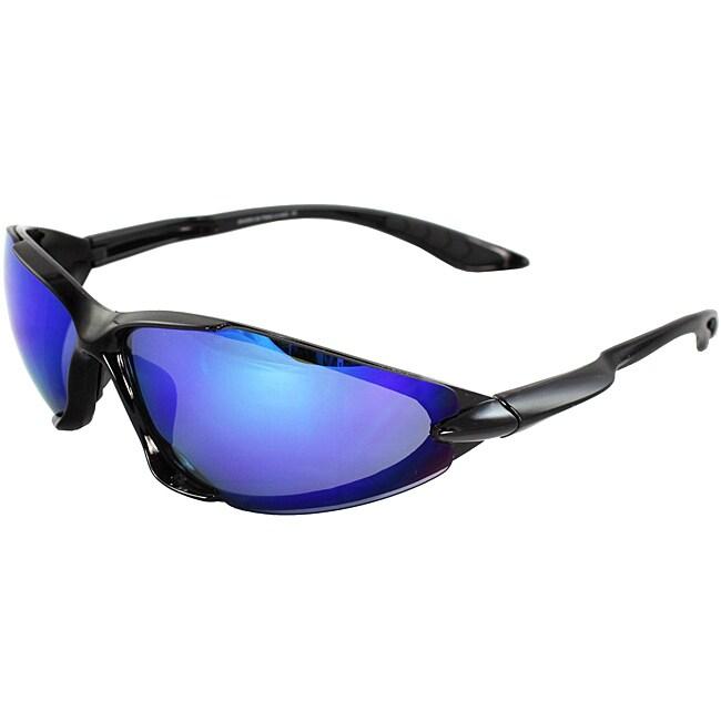 Overstock.com Men's 6545RV-BKBU Black/ Blue Wrap Sunglasses