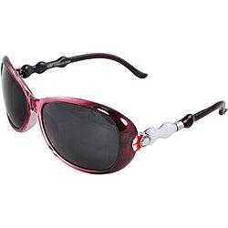 Women's Burgundy Oval Sunglasses